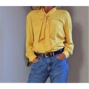 Vintage 80s Blouse Womans 42 Yellow Long Sleeve